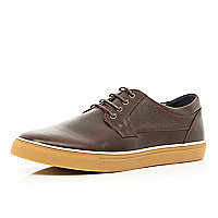 Brown lace up hybrid trainers