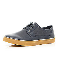 Navy lace up hybrid trainers