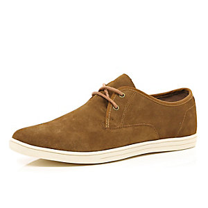 Brown suede smart trainers