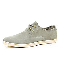Light grey suede trainers
