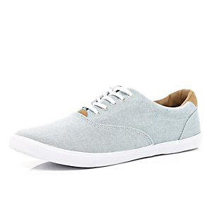 Light blue chambray lace up plimsolls