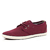 Dark red mesh lace up plimsolls