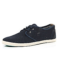 Navy mesh lace up plimsolls