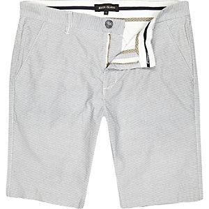Ecru thin stripe long shorts