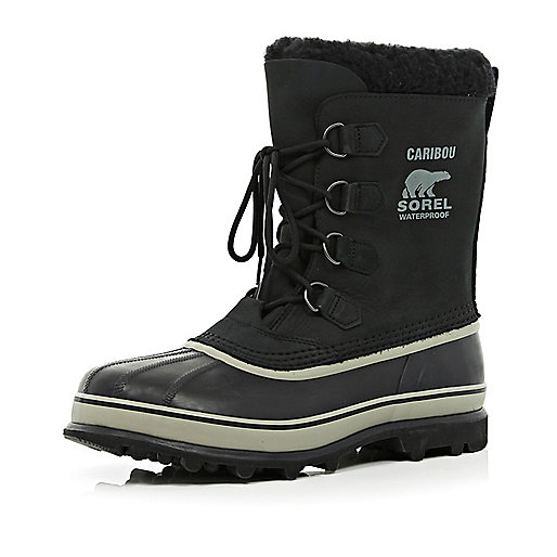 Black Sorel Caribou waterproof boots