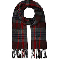 Red brushed woven tartan scarf