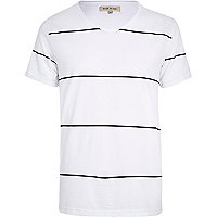 White stripe low scoop t-shirt