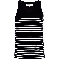Black and white breton stripe vest