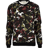 Black abstract camo print sweatshirt