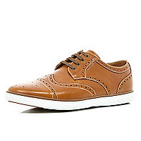 Tan chunky sole brogues