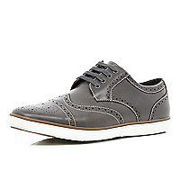 Grey chunky sole brogues