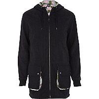 Black Joseph Turvey jersey parka jacket