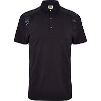 Black RI Studio leather-look panel polo shirt