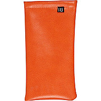 Orange leather look sunglasses case