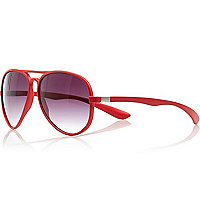Red matte rubber aviator sunglasses