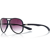Navy rubber aviator sunglasses