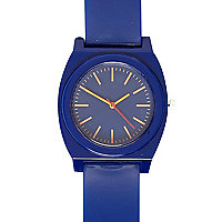 Blue neon face rubber watch