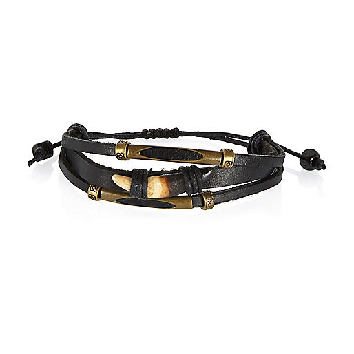 Black Medley leather tooth bracelets