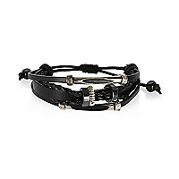 Black Medley metal twist leather bracelets