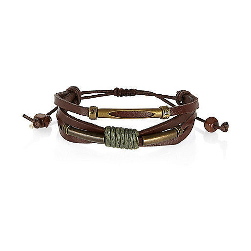 Brown Medley leather thread twist bracelets