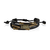 Black Medley thread twist leather bracelets