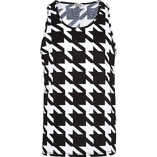 Black and white dogtooth vest
