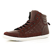 Dark red quilted panel high tops