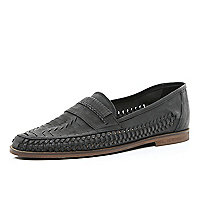 Black woven slip on shoes