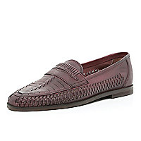 Dark red woven slip on shoes