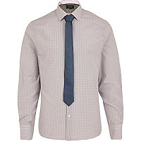 Purple long sleeve check shirt tie pack