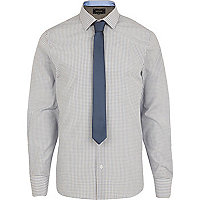 Blue check long sleeve shirt tie pack