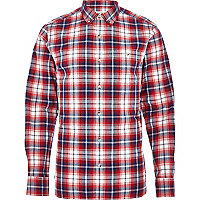 Red check roll sleeve shirt