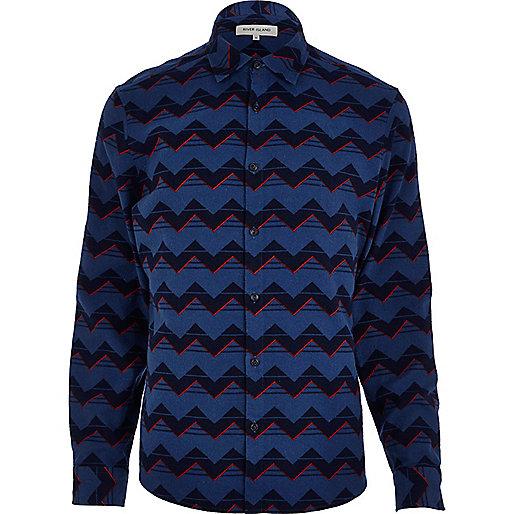 Navy zig zag print flannel shirt