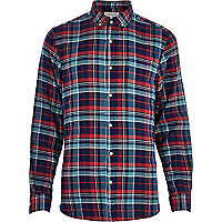 Blue tartan check print brushed cotton shirt