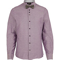 Light purple long sleeve shirt bow tie pack
