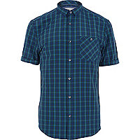 Navy tartan short sleeve shirt