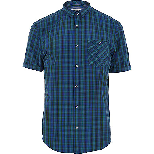 Navy tartan short sleeve shirt