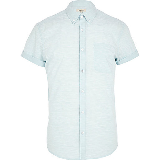 Light blue space dye short sleeve shirt
