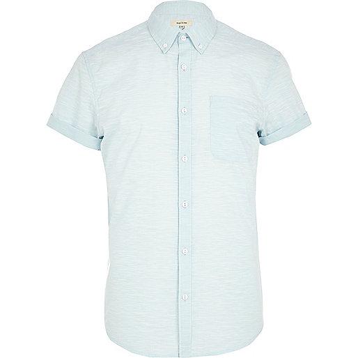 Light blue space dye short sleeve shirt