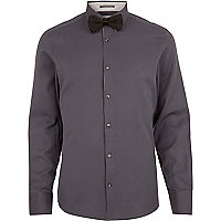 Dark grey long sleeve shirt bow tie pack