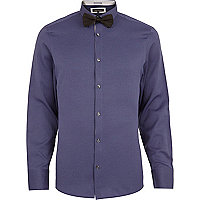 Purple long sleeve shirt bow tie pack
