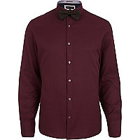 Dark red long sleeve shirt bow tie pack