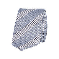 Grey dogtooth stripe tie