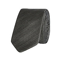 Dark grey herringbone tie