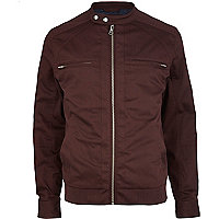 Dark red casual bomber jacket