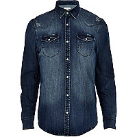 Mid wash Western denim shirt