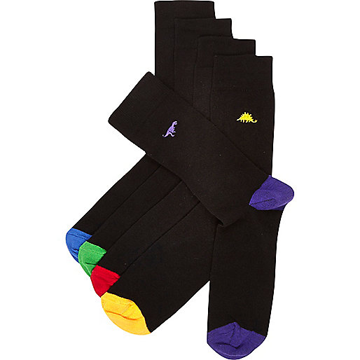 Black dinosaur motif ankle socks pack