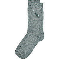 Green twist animal motif ankle socks