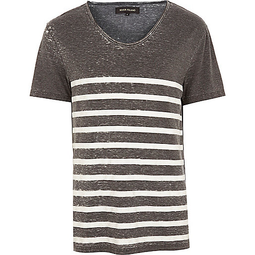 Grey burnout stripe low scoop t-shirt