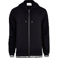 Black mesh sleeve zip through hoodie